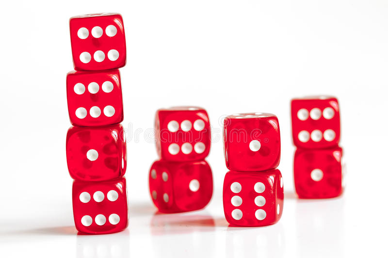 Concept luck - dice in row on white background.  stock images