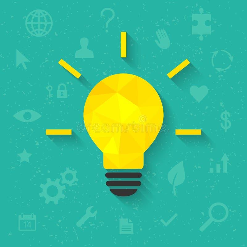Concept lumineux d'idée avec l'ampoule et les icônes illustration stock