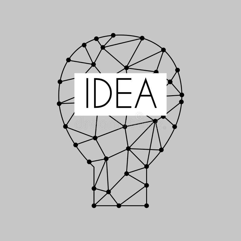 Concept lumineux de solution graphique de vecteur de conception d'ampoule de lampe de bande dessinée d'idée électrique plate d'il illustration libre de droits