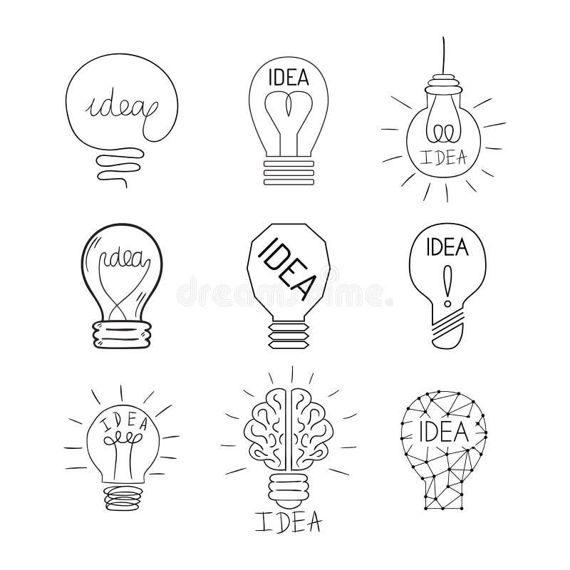 Concept lumineux de solution graphique de vecteur de conception d'ampoule de lampe de bande dessinée d'idée électrique plate d'il illustration stock