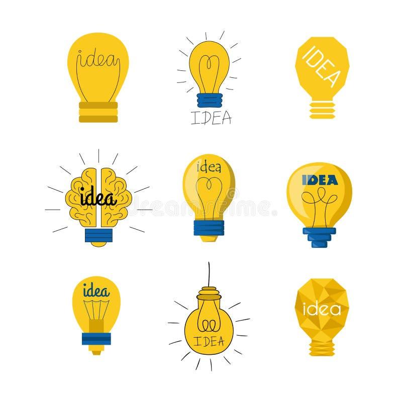 Concept lumineux de solution graphique de vecteur de conception d'ampoule de lampe de bande dessinée d'idée électrique plate d'il illustration de vecteur