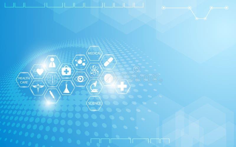 Concept médical abstrait d'innovation de la science de soins de santé avec le fond de scénographie d'icône illustration stock