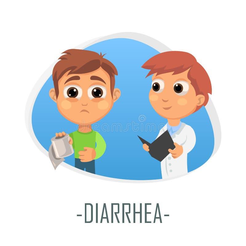 Concept médical de diarrhée Illustration de vecteur illustration libre de droits
