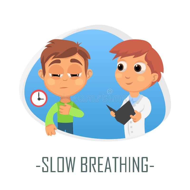 Concept médical de respiration lent Illustration de vecteur illustration libre de droits
