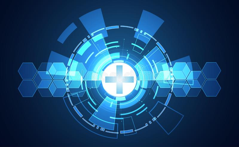 Concept médical de santé numérique abstraite de technologie sur le bl de pointe illustration stock
