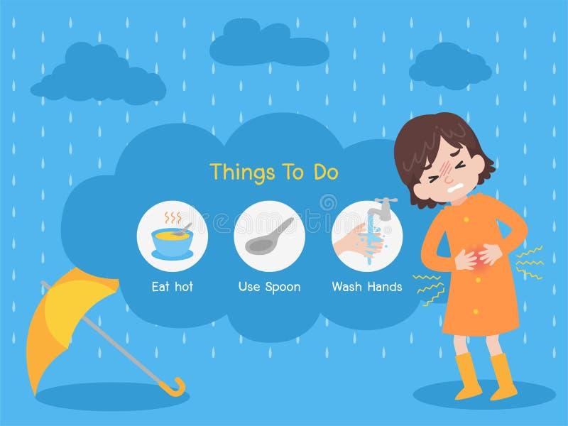 Concept médical en difficulté de soins de santé de pluie illustration de vecteur