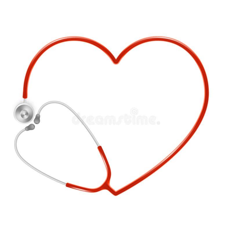 Concept médical et de soins de santé, le stéthoscope du docteur d'isolement sur le fond blanc ENV 10 illustration de vecteur