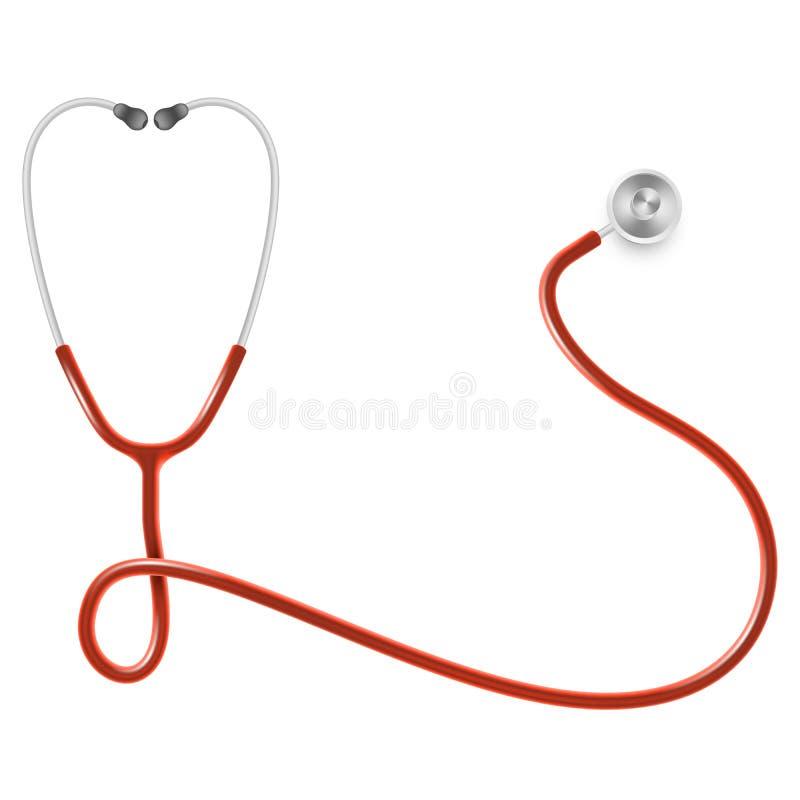 Concept médical et de soins de santé, stéthoscope du docteur s d'isolement sur le fond blanc ENV 10 illustration de vecteur