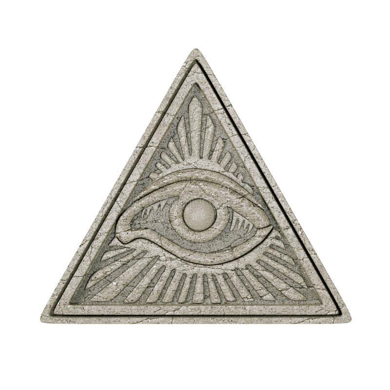 Concept maçonnique de symbole Tout l'oeil voyant à l'intérieur de triangle de pyramide illustration stock