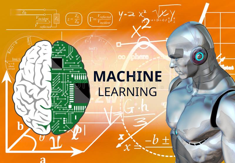 Concept of Machine learning, algorithm, artificial intelligence, Technology and engineering,. Industry 4.0 concept vector illustration
