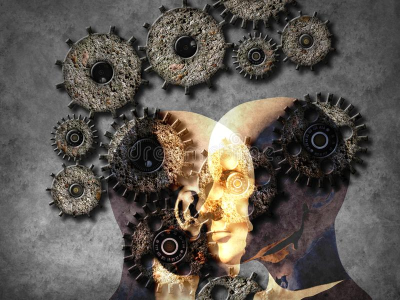Concept of machine learning to improve artificial intelligence royalty free stock photo