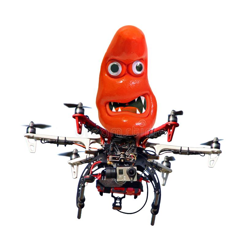 Mad lunatic monster riding on a drone attack stock photos