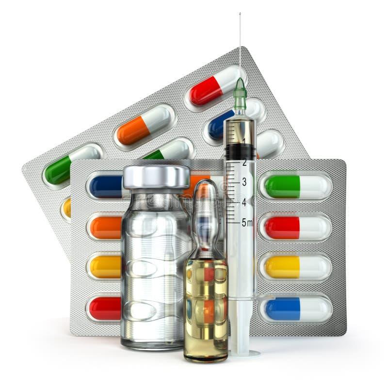 Concept madicine Pillen, flesje, ampul en spuit vector illustratie