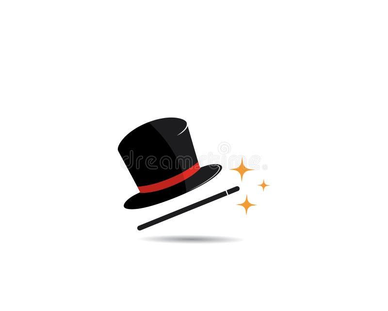 Concept magique de logo de chapeau, illustration de vecteur illustration libre de droits