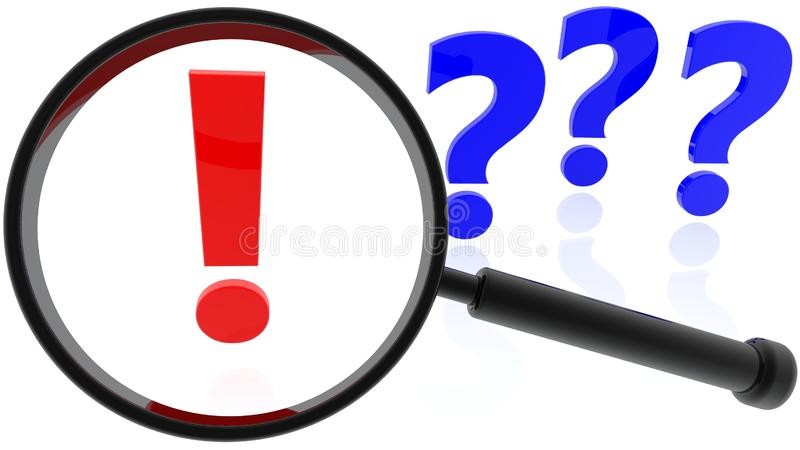 Concept of Magnifying glass and exclamation and question marks stock images