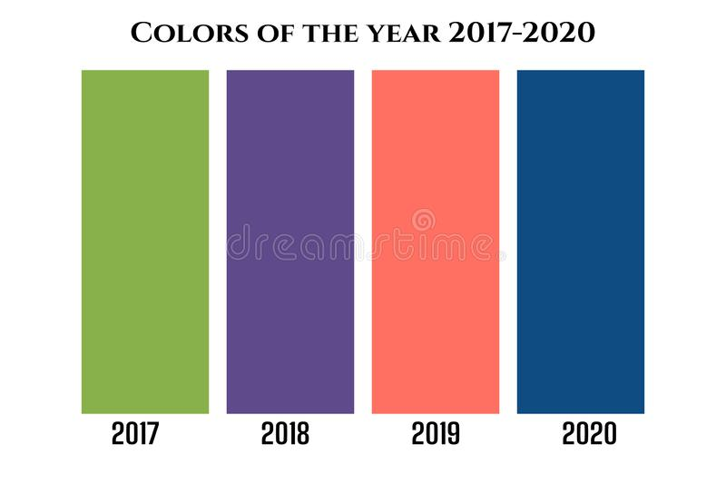 Concept of the main color trends 2017 Greenery, 2018 Ultra Violet, 2019 Living Coral, 2020 Classic Blue vector illustratie
