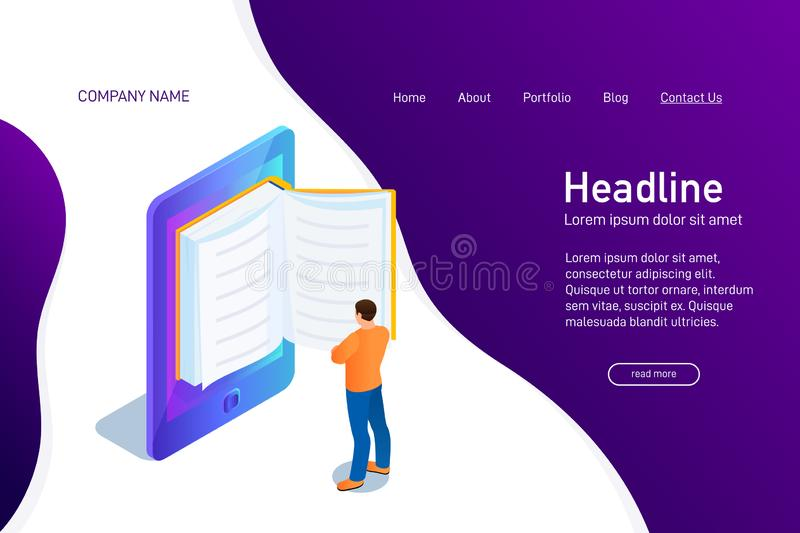 Concept of main page of web site with eBook. Landing page design with isometry. Person, man is standing and reading 3d eBook. Vector illustration stock illustration