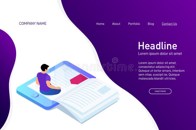 Concept of main page of web site with eBook. Landing page design with isometry. Person, man is sitting and reading 3d eBook. Vector illustration royalty free illustration