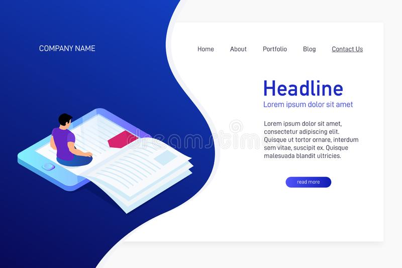 Concept of main page of web site with eBook. Landing page design with isometry. Person, man is sitting and reading 3d eBook. Vector illustration vector illustration