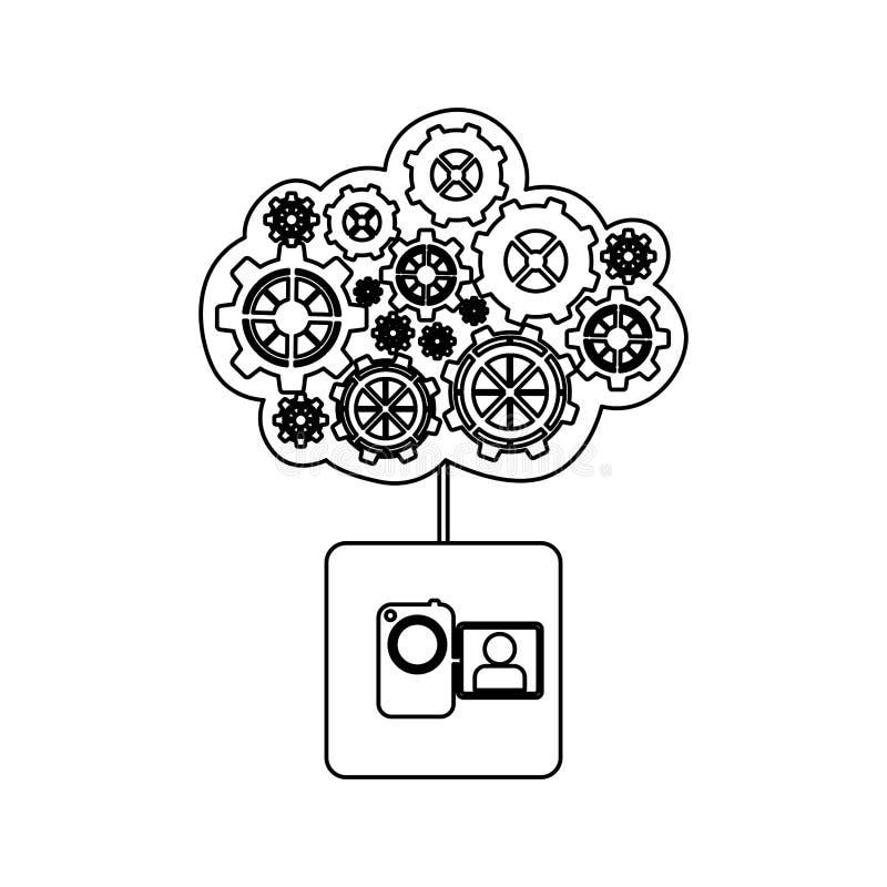 Concept of maintenance service of video camera. Illustration stock illustration