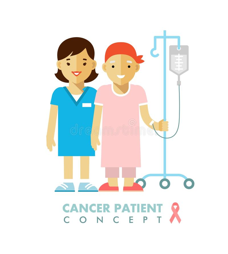Concept malade de personne de personnes de Cancer illustration stock