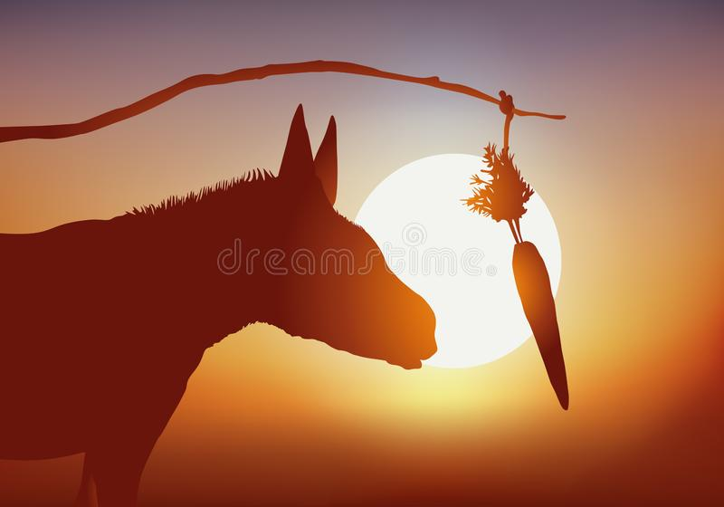 Concept of the donkey that one lures with a carrot to make it progress. Concept of manipulation and reward unattainable with a donkey that is urged to move stock illustration