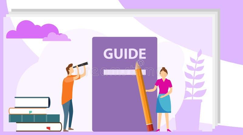 Concept manuel d'instructions Concept plat de vecteur de style de manuel d'utilisation Les gens, entourés avec une certaine subst illustration de vecteur