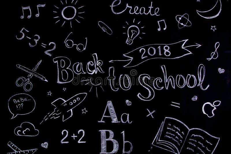 Concept manuscrit d'école sur le tableau noir écrit avec la craie De nouveau à l'école images stock