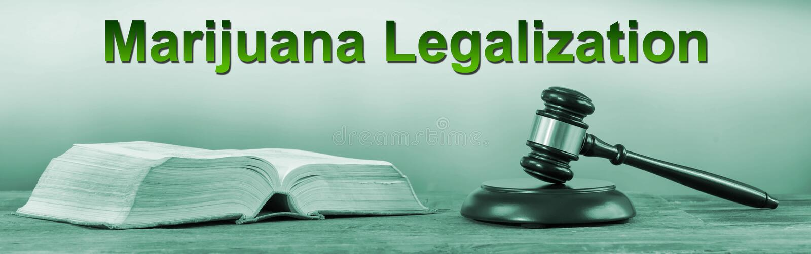 Concept of marijuana legalization. With judge hammer and law book royalty free stock photography