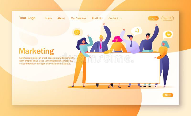 Concept of marketing team landing page. Team work with flat business people characters holding horizontal empty banner. T vector illustration