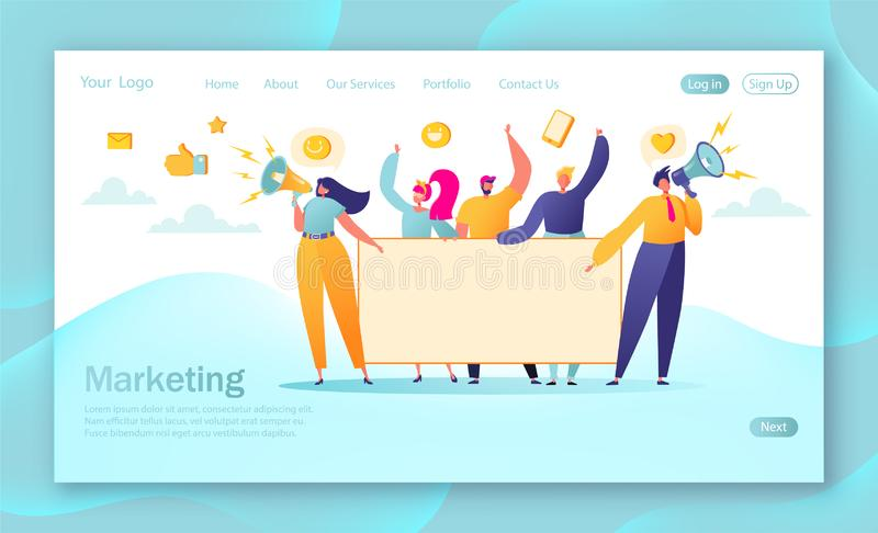 Concept of marketing team landing page. Team work with flat business people characters holding horizontal empty banner. vector illustration