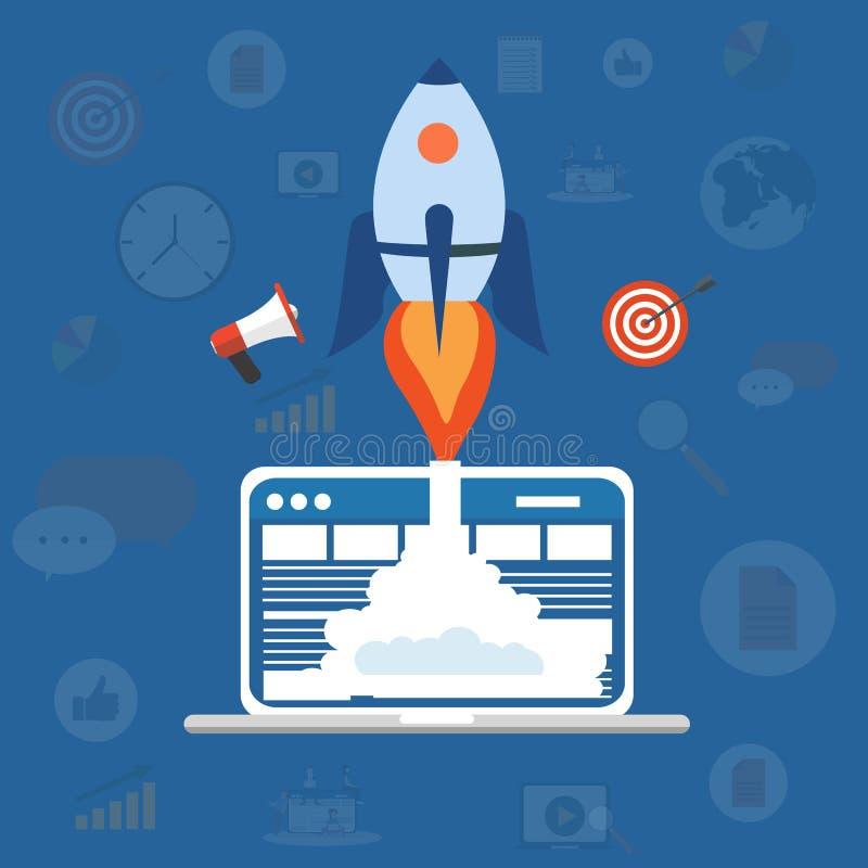 Concept marketing technologie Optimalisering van website en zoekmachines Stijgende omzetting e-mail, sociale media en inhoud stock illustratie