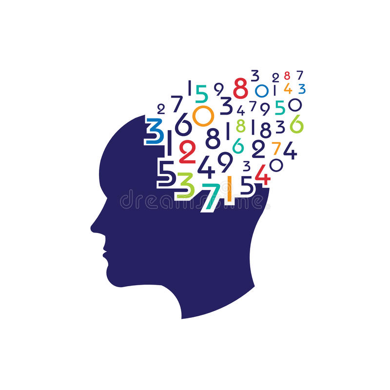 Brain head numbers logo stock illustration