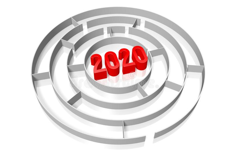 2020 concept, maze - 3D rendering royalty free stock photo