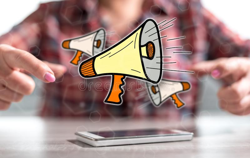 Concept mededeling stock afbeeldingen
