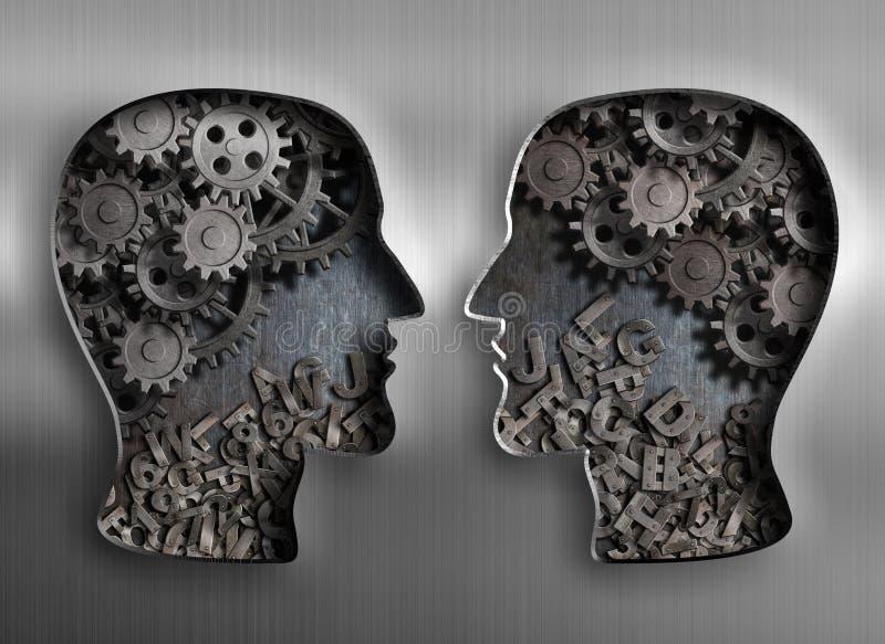 Concept mededeling, dialoog, informatie en stock illustratie