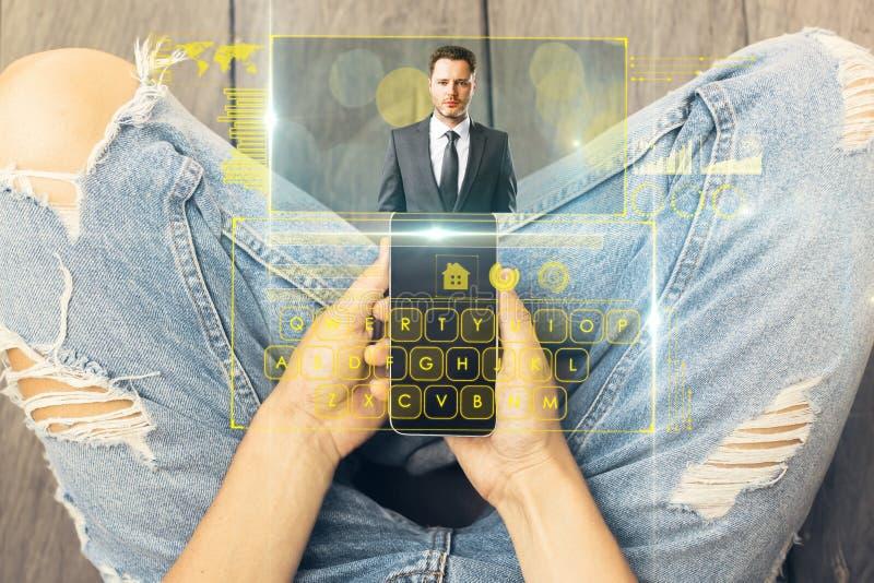 Concept mededeling, netwerk en analytics royalty-vrije stock fotografie