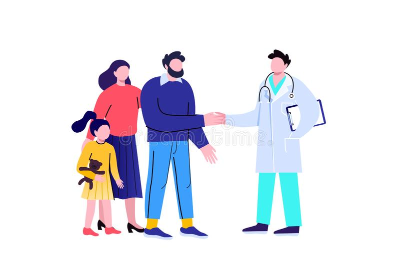 The concept of a medical contract between a doctor and patients. Characters on a white background. royalty free stock image
