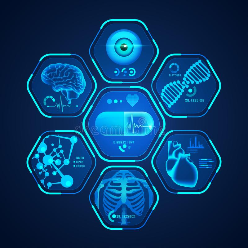 Blue medical interface stock illustration