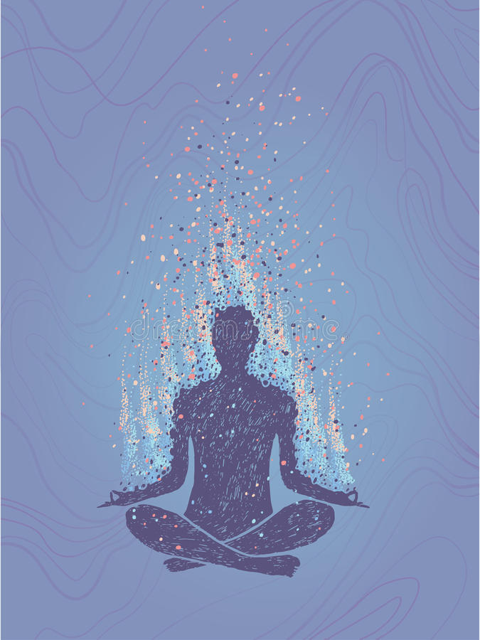Concept of meditation, enlightenment. Human sitting in a lotus pose. Vertical hand drawn colorful illustration. stock illustration