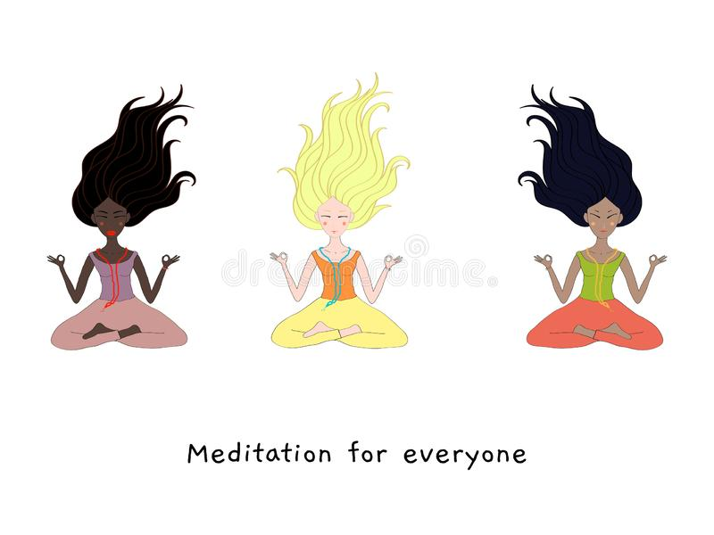 Concept of meditation for everyone, 3 girls of different nationalities sit in a pose of meditation, health benefits. For the body, mind and emotions, yoga and royalty free illustration