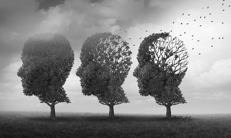 Concept Of Memory Loss. And brain aging due to dementia and alzheimer`s disease as a medical icon with fall trees shaped as a human head losing leaves with 3D royalty free illustration
