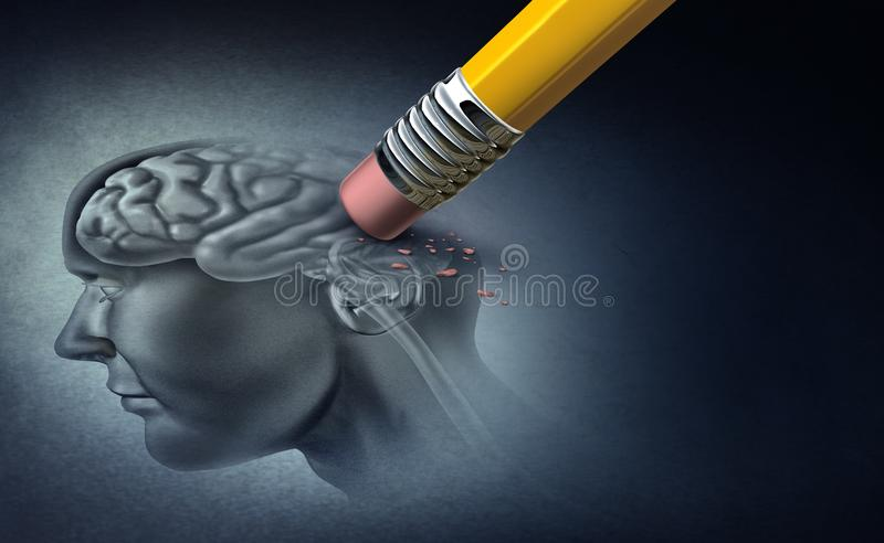 Concept Of Memory Loss. And dementia disease and losing brain function memories as an alzheimers health symbol of neurology and mental problems with 3D stock illustration