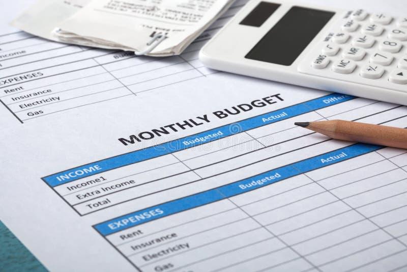 Concept mensuel de budget photo libre de droits