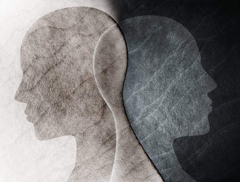 Concept mental d'esprit de trouble bipolaire Changement d'humeur émotions Double personnalité Personnalité duelle Silhouette prin illustration stock