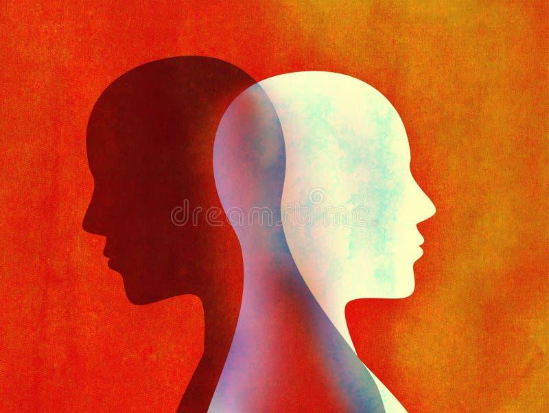 Concept mental d'esprit de trouble bipolaire Changement d'humeur émotions Double personnalité Personnalité duelle Silhouette prin illustration de vecteur