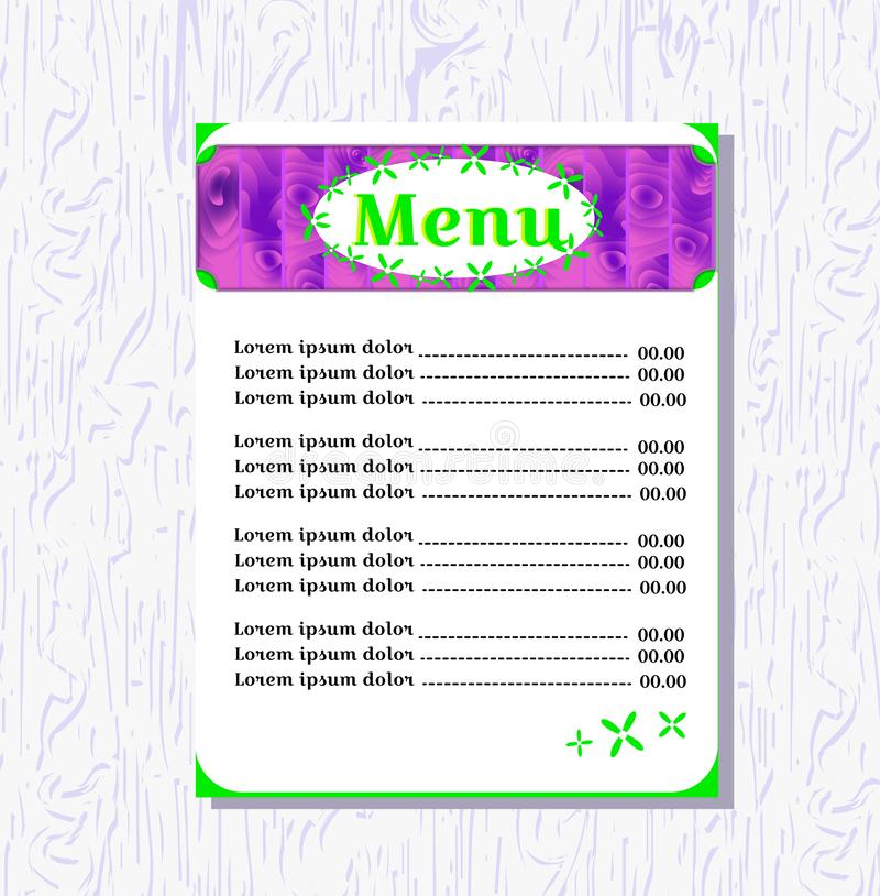 Concept menu for a cafe. Template for the menu page. Violet and bright lime colors. Flower ornament. Suitable for a. Vegetarian cafe, bar, restaurant. Design vector illustration