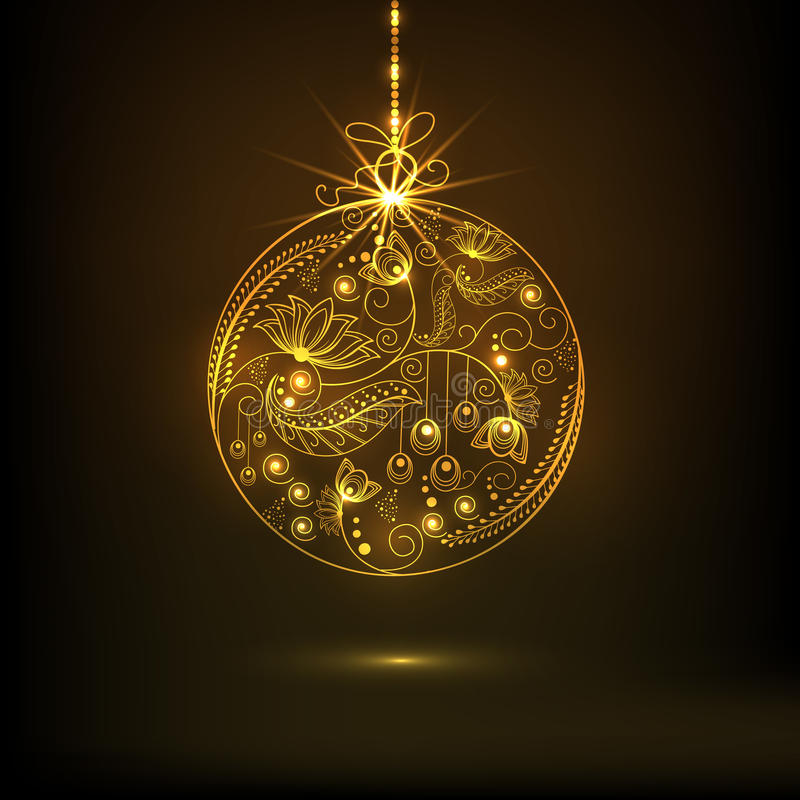 Concept of Merry Christmas and Happy New Year celebrations. Beautiful floral design decorated golden X-mas Ball hanging on brown background for Merry Christmas stock illustration