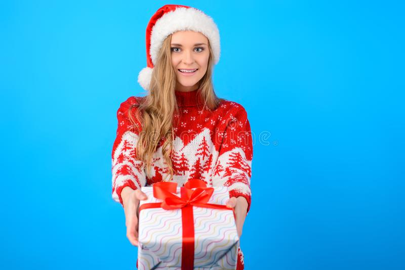 Concept of Merry Christmas and Happy New Year! Cute attractive b royalty free stock photos