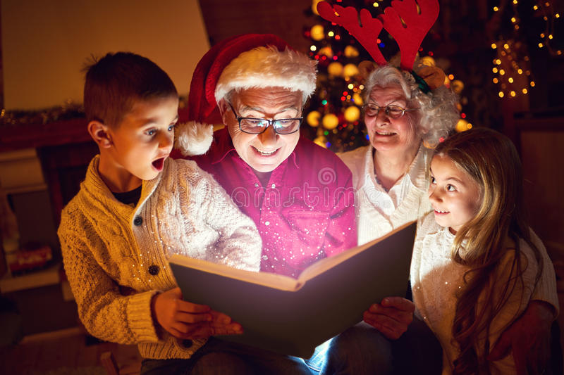 Concept of Merry Christmas- magic book stock image